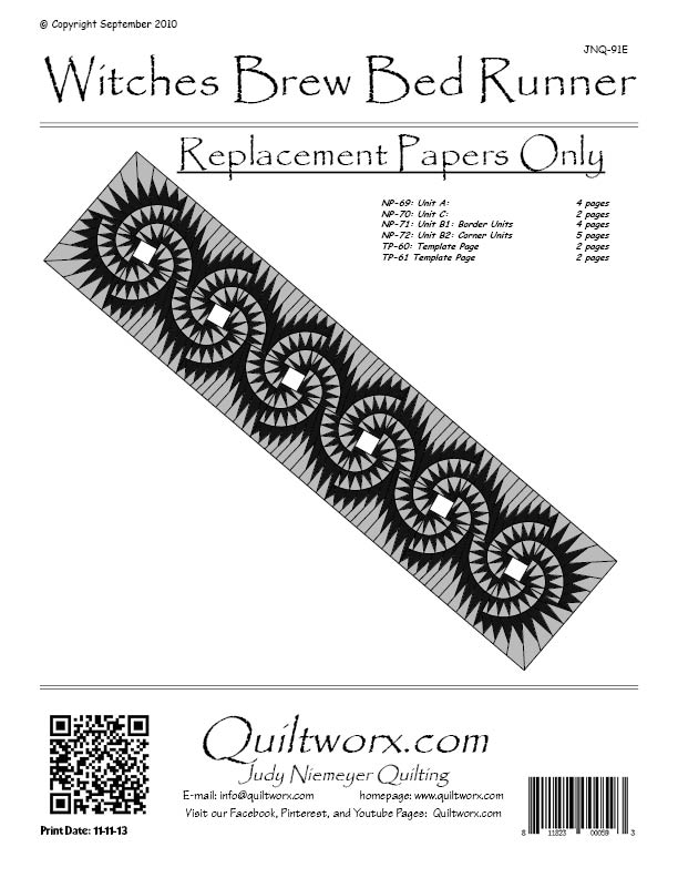 Foundation Paper Piecing By Quiltworx WITCHES BREW BED RUNNER QUILTING PATTERN