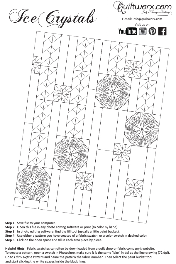 Line Drawing Of Quilt : Ice crystals