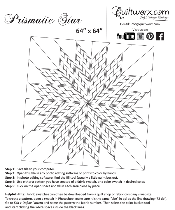 Drawing Lines For Quilting : Prismatic star